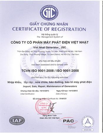 Chứng Nhận Máy Phát Điện Việt Nhật